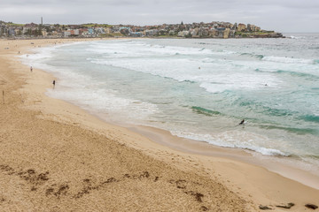 Beautiful aerial view of Bondi beach on a cloudy day, Sydney, Australia