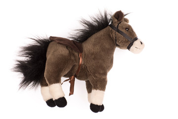 soft plush toy pony on a white background