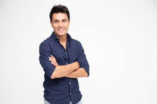 Portrait of Caucasian man with arms crossed and smile isolated over white background, Looking at camera, Happy feeling concept