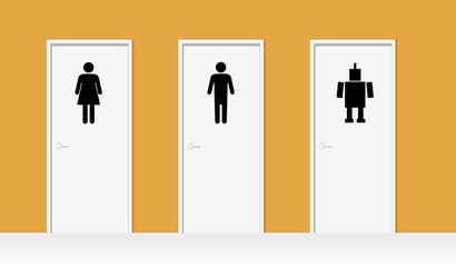 Office bathroom doors with symbols for men, women and robots as a metaphor for integrating artificial intelligence in business, EPS 8 vector illustration