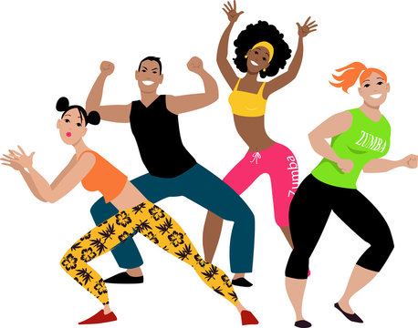 Diverse group of four young people doing zumba workout, EPS 8 vector illustration