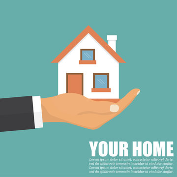 Hand agent with home in a flat design. Vector illustration