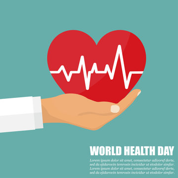 Doctor hand with heart with heartbeat. World Health Day
