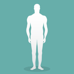 Male human body silhouette with shadow. Vector illustration
