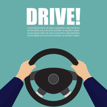 Hands hold the steering wheel of the car. Vector illustration