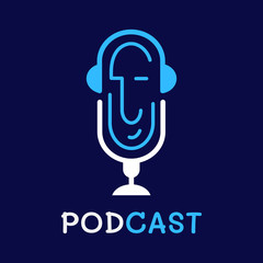 logo or icon podcast with white background,vector graphic