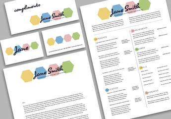 Minimalist Resume Layout Set with Colorful Geometric Accents