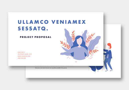 Proposal Presentation Layout with Illustrations of Nature and People