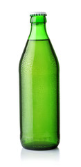 Front view of drink in green bottle