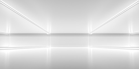 Fototapeta Futuristic empty space corridor with glow light and reflection. Abstract background sci-fi or science concept. 3D Render.