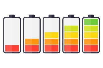 Illustration of battery level indicators. Battery life, accumulator, battery running low, battery recharging vector