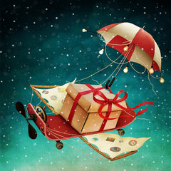 Holiday  greeting card for Christmas or New Year with  flying gift on  skateboard.