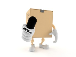 Package character holding interview microphone