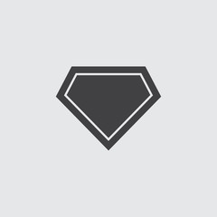 Superhero logo icon in black on a gray background. Vector illustration