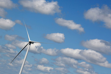 A power-generating wind turbine is seen in Saint-Laurent-Des-Eaux near Orleans