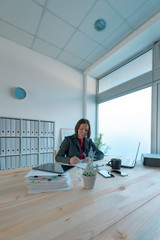 Busy businesswoman doing paperwork in office