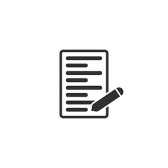 Paper list with pen icon in simple design. Vector illustration