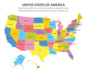 USA multicolored map with states. Vector illustration