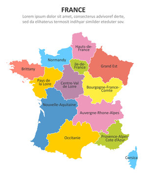 France multicolored map with regions. Vector illustration