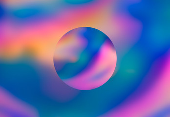 Spectrum abstract vaporwave holographic background with circle, trendy colorful backdrop in pastel neon color. For creative design cover, CD, poster, book, printing, gift card, fashion web and print