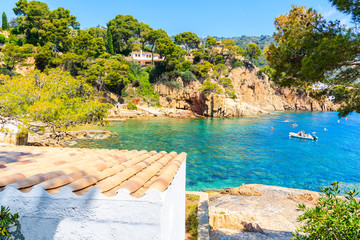 Fototapete - White house on beach in picturesque bay near Fornells village, Costa Brava, Spain