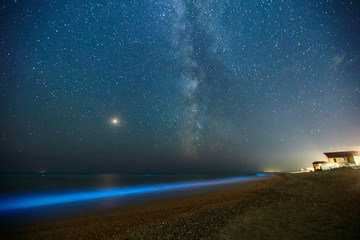 Long exposure shot of glowing plankton on sea surf and milky way. Blue bioluminescent glow of water under the starry sky. Rear nature phenomenon. Bright Mars planet among constellations in night sky. Wall mural