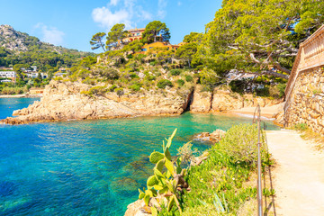 Wall Mural - Coastal path along sea in picturesque Fornells village, Costa Brava, Spain