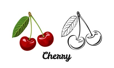 Cherry icon set isolated on white background. Color illustration of a red ripe berry with a green leaf and black and white contour image. Vector outline and silhouette.