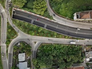 Aerial view of cross roads