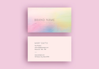 Business Card Layout with Rainbow Watercolor Gradient