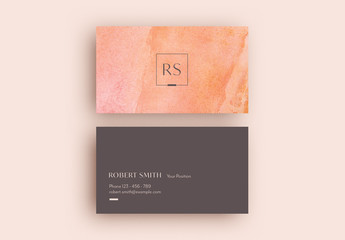 Business Card Layout with Pink Marble Background