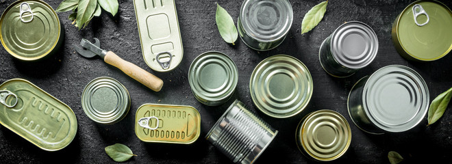 Set of different kinds of tin cans with canned food.