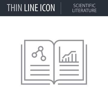 Symbol of Scientific Literature. Thin line Icon of Icons Of Biochemistry And Genetics Icon. Stroke Pictogram Graphic for Web Design. Quality Outline Vector Symbol Concept. Premium Mono Linear