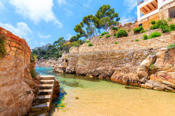 Wall Mural - Steps to beach and holiday apartments in Fornells village, Costa Brava, Spain