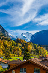 Fototapete - Fabulous alpine wooden houses, green fields and famous touristic Grindelwald town with high North Face of Eiger mountains, Bernese Oberland, Switzerland, Europe