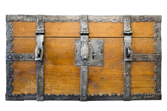 Antique loot box. Ancient wooden trunk front with padlock hasps and engraving. Isolated.
