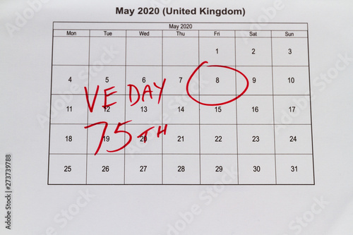 Monthly calendar with 8 May 2020 VE Day