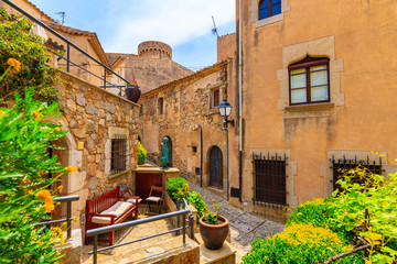 Fototapete - Narrow street with stone houses in old town in Tossa de Mar, Costa Brava, Spain