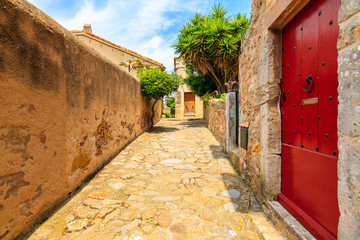 Wall Mural - Narrow street with stone houses in old town in Tossa de Mar, Costa Brava, Spain