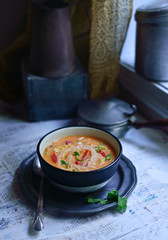 Close up of Thai soup served in bowl