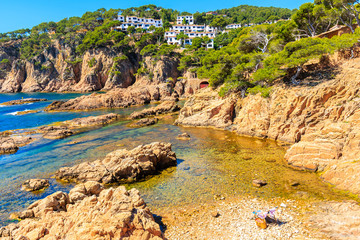 Wall Mural - Beautiful rocky coast and beach near Cala Aigua, Costa Brava, Spain