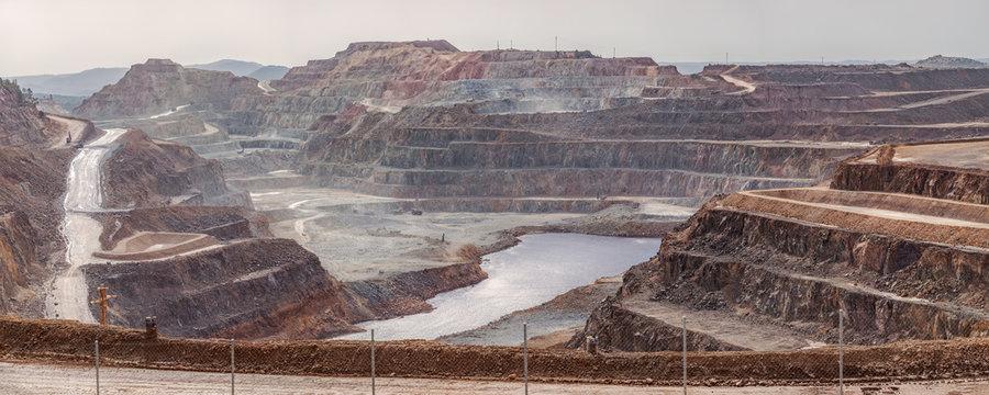 Rocky landscape in early morning in Mines of Riotinto, Huelva