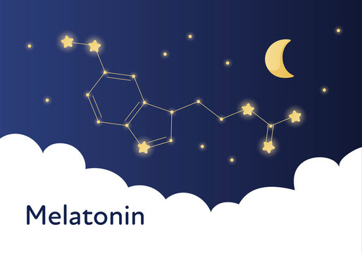Vector modern melatonin treatment banner template. Blue gradient night sky illustration with molecula structure in constellation isolated on white background. Concept of sleep disorder treatment.