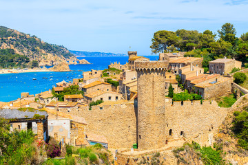 Wall Mural - Tossa de Mar and view of castle with old town, Costa Brava, Spain
