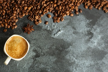 coffee freshly brewed in a white cup serving of beverage (coffee grain). food. top.copy space
