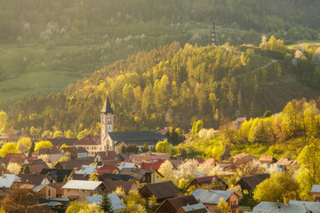 Beautiful spring view on small village Terchova at the sunset, Mala Fatra, Slovakia