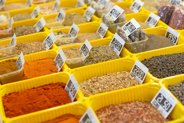Various spices on farmer market