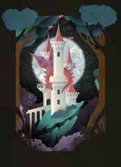 Book cover fairy tale illustration castle and dragon in front of night sky and moon