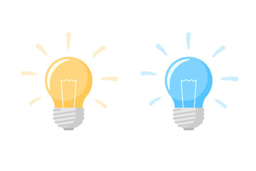 Yellow and blue light bulb lamp flat icon with bright rays shine set. Energy innovation and creative idea symbol isolated on white background. Vector Illustration