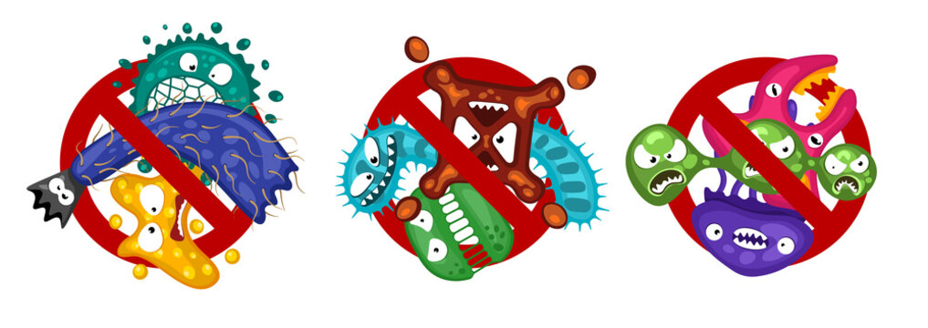 Stop spread virus symbol set. Cartoon germ characters isolated vector illustration on white background. Cute fly bacteria infection character. Pathogen viruses and diseases protection
